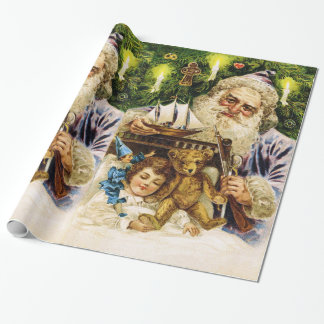 Vintage Santa with Teddy and Ship Wrapping Paper