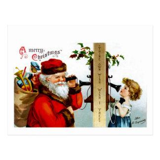 Vintage Santa with Telephone Postcard