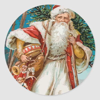 Vintage Santa with toys Classic Round Sticker