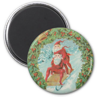 Vintage Santas Sledding Fridge Magnets