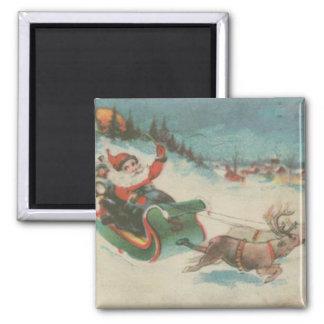 Vintage Santa's Sleigh and Reindeer Magnet