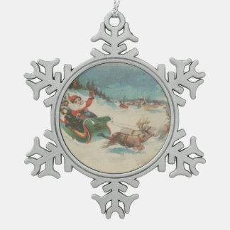 Vintage Santa's Sleigh and Reindeer Pewter Snowflake Decoration