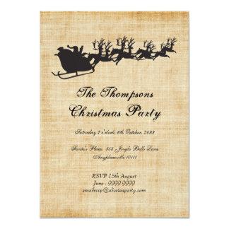 Vintage Santa's Sleigh Reindeer Christmas Party Personalized Invite