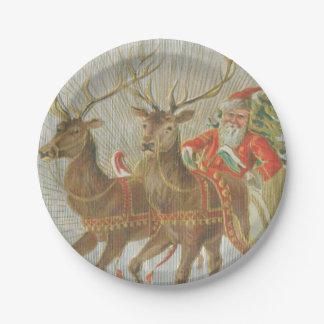 Vintage Santa's Sleigh 7 Inch Paper Plate