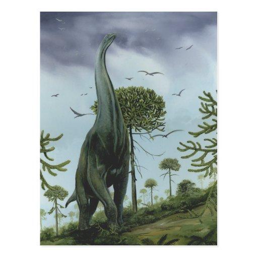 Vintage Sauroposeidon Dinosaur with Birds Flying Postcards