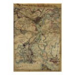 Vintage Savannah Georgia Civil War Map (1864) Poster