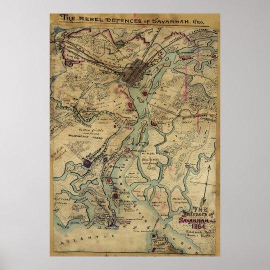 Vintage Savannah Georgia Civil War Map (1864) Poster
