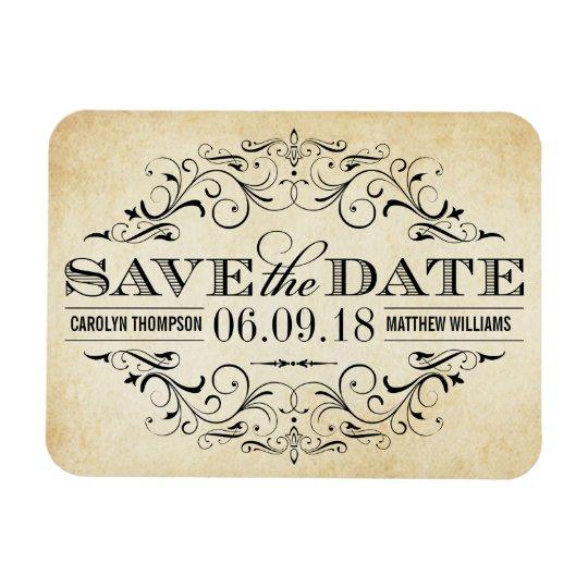 Vintage Save the Date | Elegant Flourish Rectangular Photo Magnet