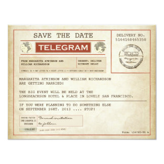 vintage save the date old telegrams 11 cm x 14 cm invitation card