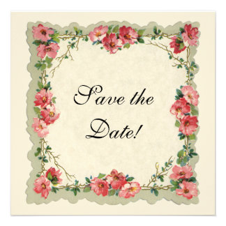 Vintage Save the Date, Pink Flowers Floral Roses Personalized Invitations