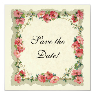 Vintage Save the Date, Pink Flowers Floral Roses 13 Cm X 13 Cm Square Invitation Card