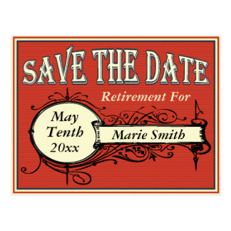 Vintage Save The Date Retirement Postcard