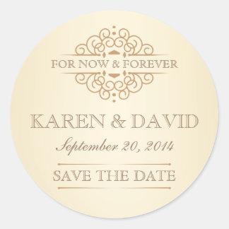 Vintage Save the Date Victorian Wedding Labels Round Sticker
