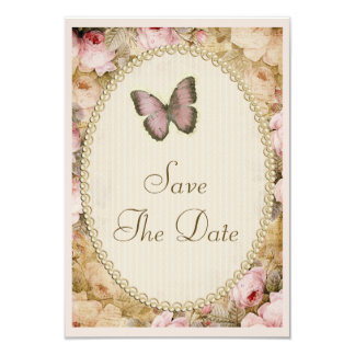 Vintage Save The Date Wedding Roses & Butterfly 9 Cm X 13 Cm Invitation Card