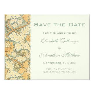 Vintage Save the Date William Morris Floral Flower 11 Cm X 14 Cm Invitation Card