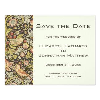 Vintage Save the Date William Morris Flowers Birds 11 Cm X 14 Cm Invitation Card