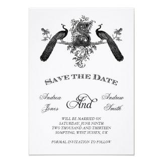 Vintage Save the Date with Monogram Peacocks 13 Cm X 18 Cm Invitation Card