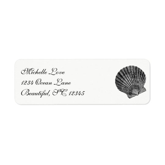 Vintage Scallop Seashell Beach Black White Address