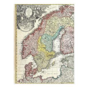 Vintage Scandinavian Map Postcard