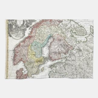 Vintage Scandinavian Map Tea Towel