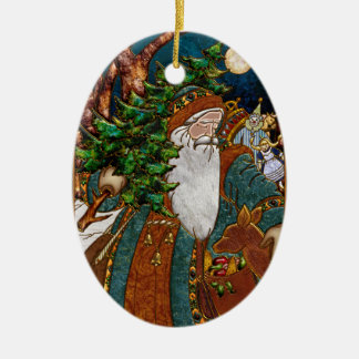 Vintage Scandinavian Santa Personalized Christmas Ornament