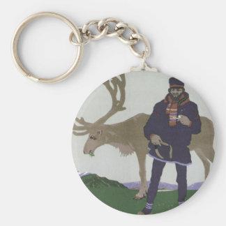 Vintage Scandinavian Travel to Norway Man Reindeer Key Ring