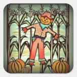 Vintage Scarecrow Square Sticker