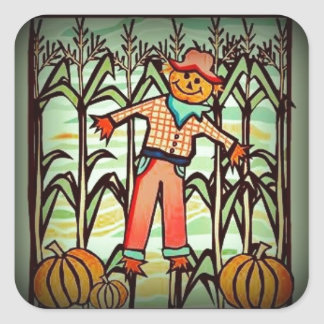 Vintage Scarecrow Square Sticker