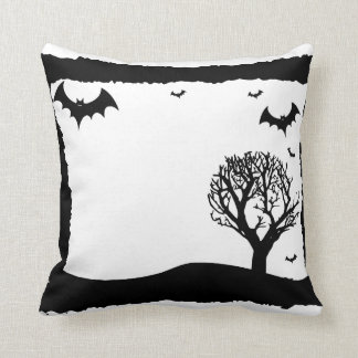 Vintage Scary & spooky Bats Happy Halloween Cushion