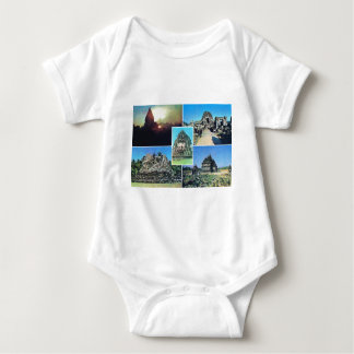Vintage scene in Central Java, temple, agriculture Baby Bodysuit