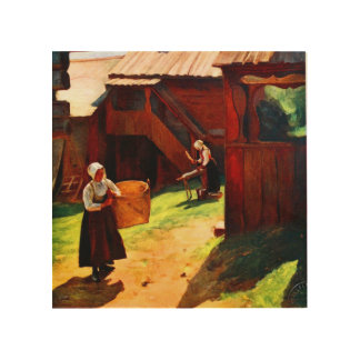 Vintage scene of rustic Sweden on wood Wood Wall Art
