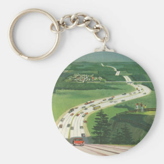 Vintage Scenic American Highways, Cars Road Trip Basic Round Button Key Ring