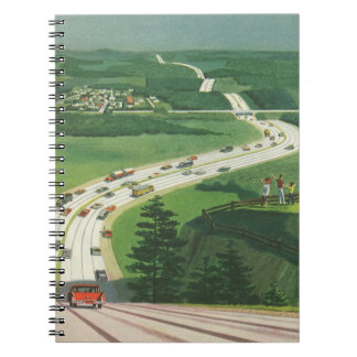 Vintage Scenic American Highways, Cars Road Trip Notebooks