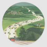 Vintage Scenic American Highways, Cars Road Trip Round Sticker