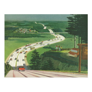 Vintage Scenic Road Trip Cars, Change of Address Postcard