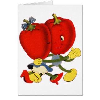 Vintage School Valentine Kitsch Red Peppers Dance Greeting Card