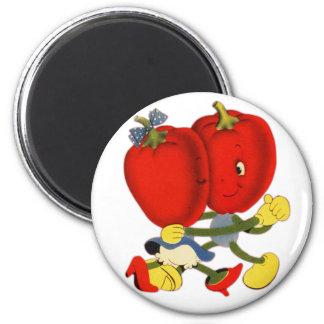 Vintage School Valentine Kitsch Red Peppers Dance Fridge Magnet