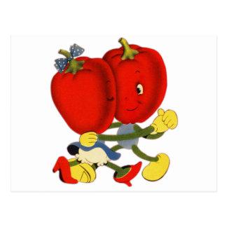 Vintage School Valentine Kitsch Red Peppers Dance Postcard