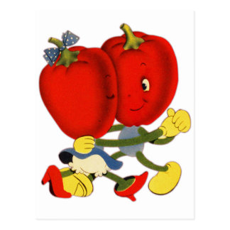 Vintage School Valentine Kitsch Red Peppers Dance Postcard