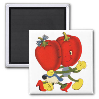 Vintage School Valentine Kitsch Red Peppers Dance Square Magnet