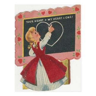 Vintage Schoolhouse Valentine Postcard
