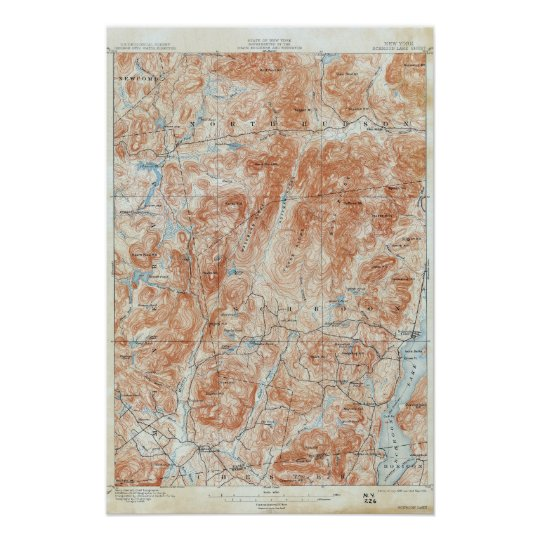 Vintage Schroon Lake New York Topographical Map Poster