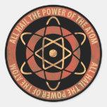 Vintage Sci-Fi Atomic Power Emblem Round Sticker