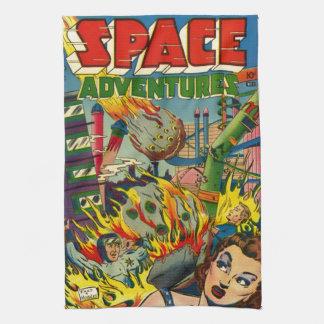 VINTAGE SCI FI COMICS (SPACE ADVENTURES) TEA TOWEL
