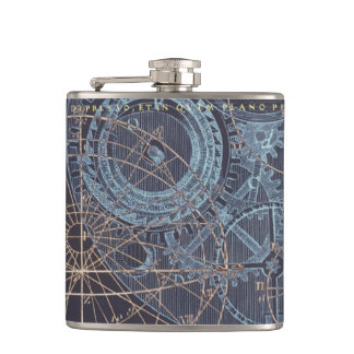 Vintage Science Book Illustration Hip Flask