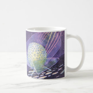 Vintage Science Fiction, a Glowing Orb with Aliens Basic White Mug