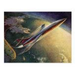 Vintage Science Fiction Aeroplane Spaceship Earth