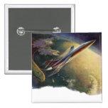 Vintage Science Fiction Aeroplane Spaceship Earth Pin