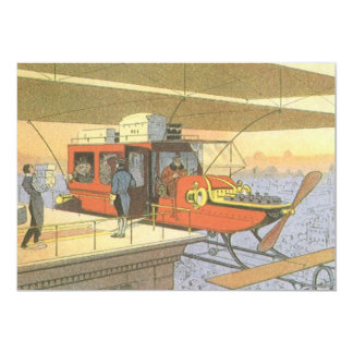 Vintage Science Fiction Airplane Helicopter Limo 13 Cm X 18 Cm Invitation Card