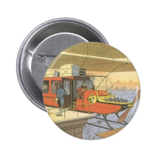 Vintage Science Fiction Airplane Helicopter Limo 6 Cm Round Badge